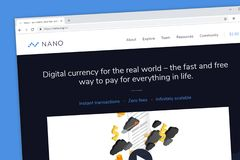Nano digital currency payment website for instant transactions with zero fees royalty free stock photo