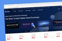 OKEX global leader of blockchain technology and digital asset exchange website homepage royalty free stock image