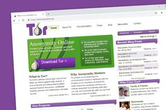 Tor or The Onion Router website homepage. stock illustration