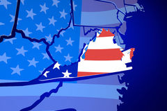 Virginia VA United States America USA Flag Map Stock Images