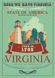 Virginia vector american poster. Here we have Virginia. Virginia vector american poster. USA travel illustration. United States of America colorful greeting card Stock Image