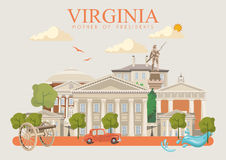 Virginia vector american poster. Vintage greetings card. Virginia vector american poster. USA travel illustration. United States of America colorful greeting Stock Image