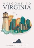 Virginia-Vektoramerikanerplakat Hier haben wir Virginia Willkommen zu Virginia lizenzfreie abbildung