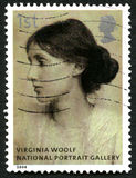 Virginia Woolf UK Postage Stamp. GREAT BRITAIN - CIRCA 2006: A used postage stamp from the UK, depicting a portrait of famous novelist Virginia Woolf which is on Royalty Free Stock Photo