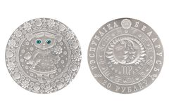 Virgo Belarus silver coin stock photo