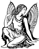 Virgo black white. Young woman with angel wings, virgo astrological zodiac sign, black and white tattoo image royalty free illustration