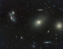 Virgo Cluster of galaxies. Astronomy telescope nebula star stock photos