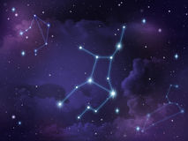 Virgo constellation star Zodiac. Zodiac star,Virgo constellation, on night sky with cloud and stars Royalty Free Stock Photography