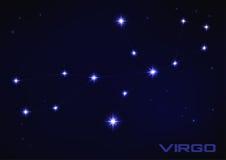 Virgo constellation. Vector illustration of Virgo constellation in blue Stock Photos