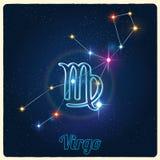 Virgo de la constelación del vector con la muestra del zodiaco Fotografía de archivo libre de regalías