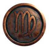 Virgo de la muestra del horóscopo en el círculo de cobre imagen de archivo libre de regalías