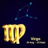 Virgo de la muestra del zodiaco del vector astrología stock de ilustración