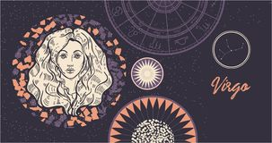 Virgo de la muestra del zodiaco El símbolo del horóscopo astrológico Cara a mano de las mujeres de illustration Bandera horizonta libre illustration