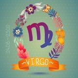 VIRGO de la muestra del zodiaco, en guirnalda floral dulce Muestra, flores, hojas y cinta del horóscopo Fotos de archivo libres de regalías
