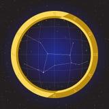 Virgo star horoscope zodiac in fish eye telescope with cosmos background. Virgo star horoscope zodiac in fish eye telescope golden ring frame with cosmos Stock Image
