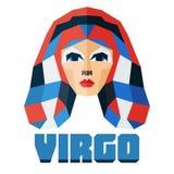 virgo Vector el horóscopo, muestra plana poligonal del zodiaco, muestra astrológica Imagen de archivo