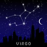 Virgo zodiac constellations sign on beautiful starry sky with galaxy and space behind. Virgin horoscope symbol constellation on de. Ep cosmos background Stock Image