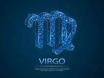 Virgo Zodiac 3D low poly abstract illustration . Vector digit wireframe concept. vector illustration