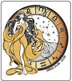 Virgo zodiac sign on Horoscope circle.Vector Royalty Free Stock Images
