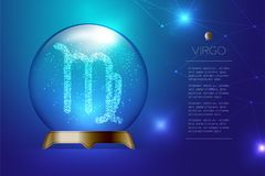 Virgo Zodiac sign in Magic glass ball, Fortune teller concept de. Sign illustration on blue gradient background with copy space, vector eps 10 Stock Photography