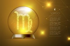 Virgo Zodiac sign in Magic glass ball, Fortune teller concept design illustration. On gold gradient background with copy space, vector eps 10 Stock Images