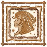 Virgo Zodiac Sign on Native Tribal Leather Frame Stock Photos