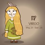 Virgo zodiac sign cartoon character vector EPS10. Virgo zodiac sign, retro vintage blond girl with a bird and three spikelets in hand in green long dress, vector Royalty Free Stock Image