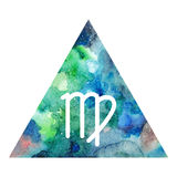 Virgo zodiac sign. On watercolor triangle background. Astrology symbol Stock Photography