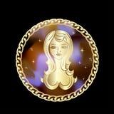 Virgo zodiak podpisuje wewnątrz okrąg ramę royalty ilustracja