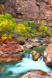 Virign River Waterfall in Utah. Small Virgin River waterfall through large boulders in Zion Canyon of Utah Stock Photography
