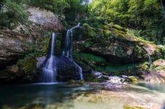 Virje瀑布1,斯洛文尼亚 免版税库存照片