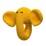 Virkad gul isolerad elefantleksak royaltyfria bilder