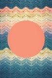 Virkad mångfärgad bomullskanfas Rund rosa färgram för text arkivbild