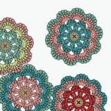 Virkningblommor mandala stock illustrationer