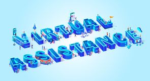 Virtual Assistance Town Small People Cloud System. stock illustration