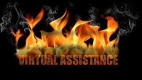 Virtual Assistance Word in Fire Text Royalty Free Stock Photos