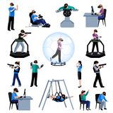 Virtual Augmented Reality Flat Pictogram Collection Royalty Free Stock Photography