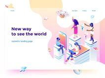 Virtual augmented reality glasses concept with people learning and entertaining. Landing page template. 3d vector. Virtual augmented reality glasses concept with vector illustration