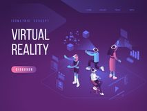 Virtual augmented reality glasses concept with people learning and entertaining. Landing page template. 3d vector. Virtual augmented reality glasses concept with royalty free illustration
