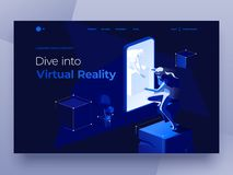 Virtual augmented reality glasses concept with people playing a game and entertaining on the dark blue abstract background. royalty free illustration