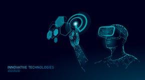 Virtual augmented reality helmet low poly. Innovation media entertainment polygonal concept. HUD user display digital vector illustration