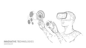 Virtual augmented reality helmet low poly. Innovation media entertainment polygonal concept. HUD user display digital stock illustration