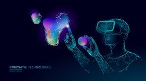Virtual augmented reality helmet low poly. Innovation media entertainment polygonal concept. Neon liquid gradient royalty free illustration