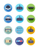 Virtual and augmented reality icons Stock Photos