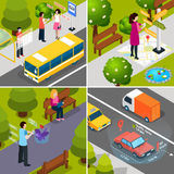 Virtual Augmented Reality Isometric Icon Set. Four square virtual augmented reality 360 degree isometric icon set with people and smartphones vector illustration Royalty Free Stock Photography