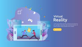 Virtual augmented reality. people character touching VR interface and wearing goggle playing games, education, entertaining,. Learning. template banner royalty free illustration