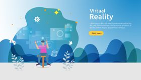 Virtual augmented reality. people character touching VR interface and wearing goggle playing games, education, entertaining,. Learning. template banner stock illustration