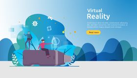 Virtual augmented reality. people character touching VR interface and wearing goggle playing games, education, entertaining,. Learning. template banner vector illustration