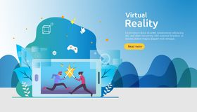 Virtual augmented reality. people character touching VR interface and wearing goggle playing games, education, entertaining, vector illustration