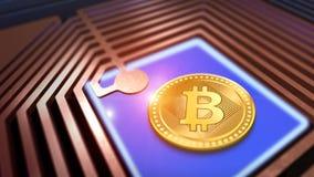 Virtual Bitcoin with cpu Stock Photography